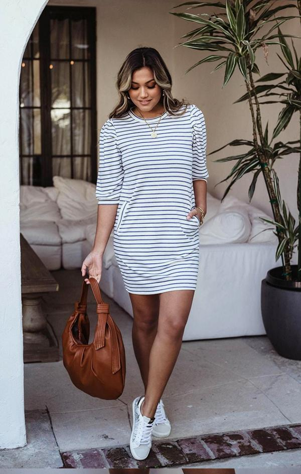 quarter sleeve striped mini casual dress