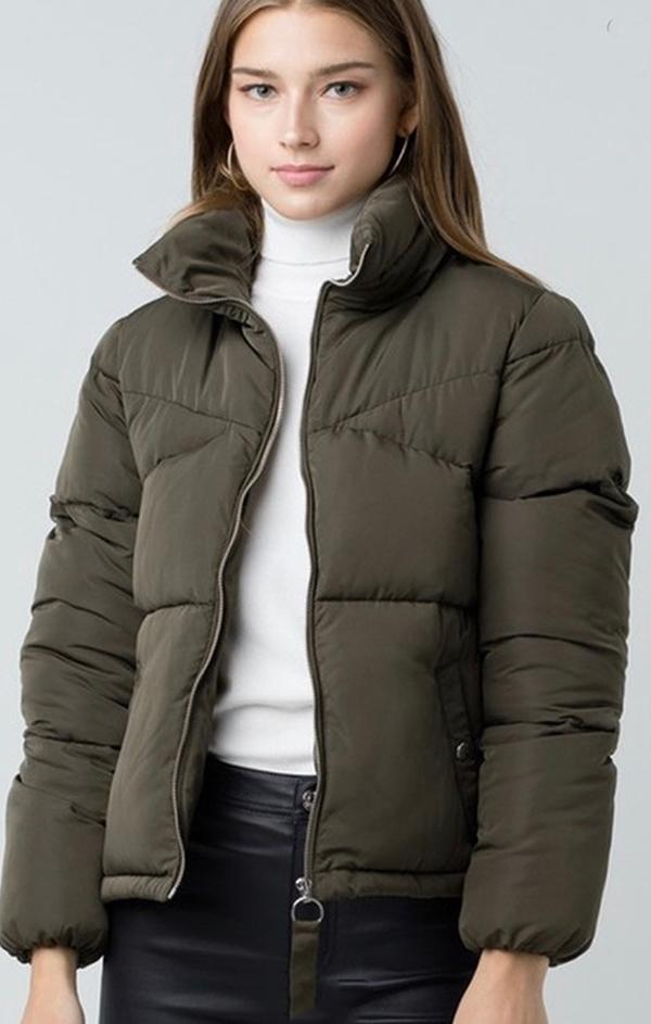 puffer jacket olive green