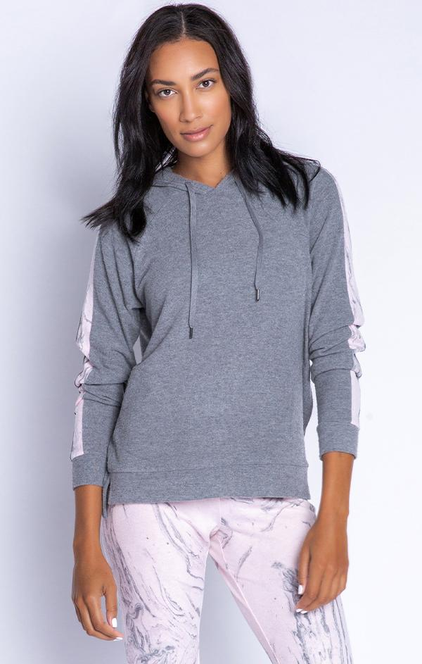 marble stripe heather grey hoodie sweatshirt