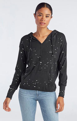 v neck black splatter paint print hoodie