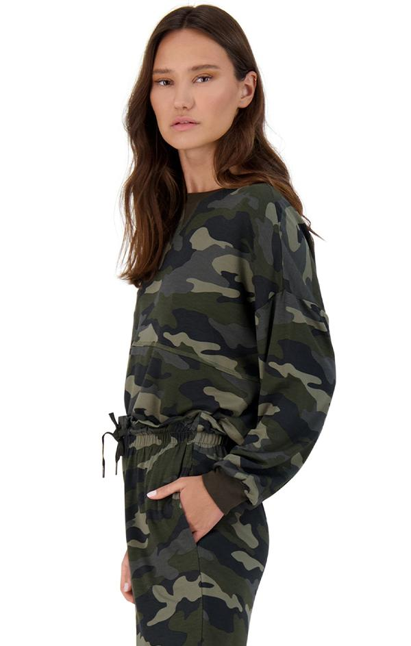 camo print long sleeve drop shoulder top