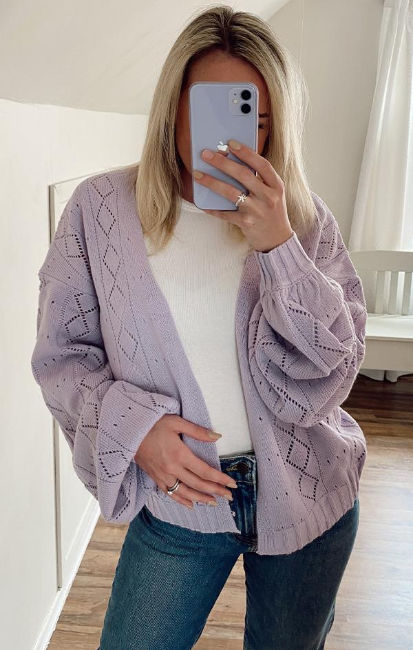 spring purple open cardigan with puff sleeves and design detailing