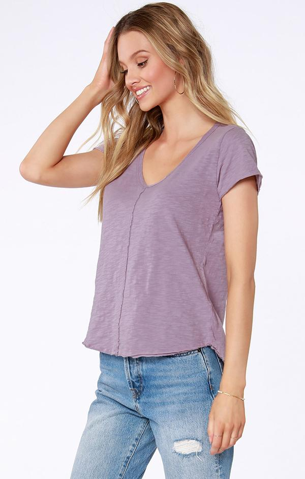 short sleeve purple v neck top
