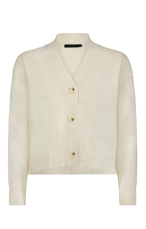 cream cropped cashmere button up spring sweater