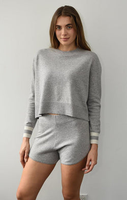 soft grey cropped sweater with ribbed detailing