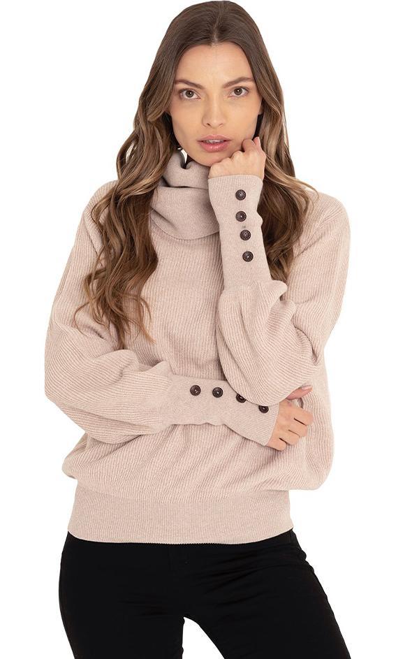 cozy turtle neck button cuff fall sweater