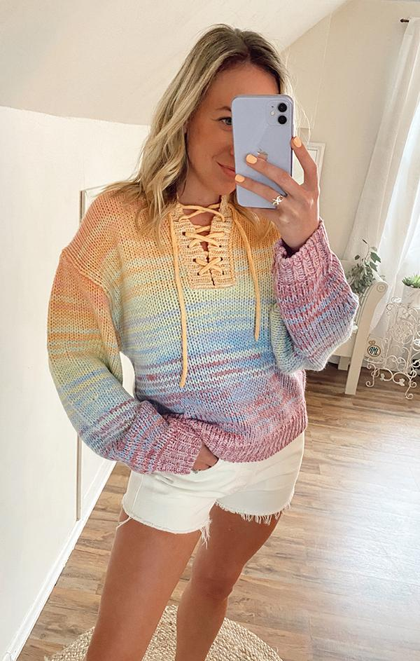Mixed Marl Striped Pullover