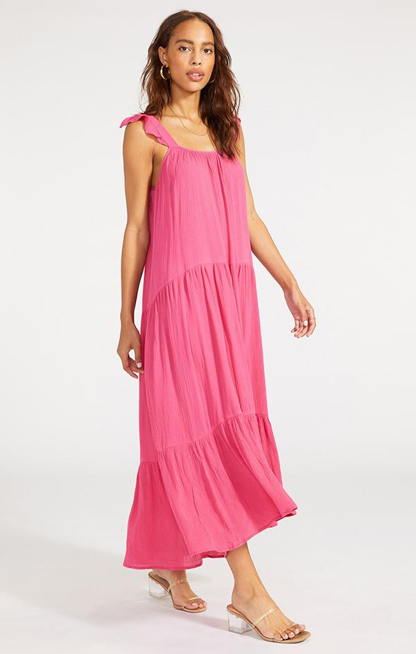 womens ruffle tank strap pink flowy maxi dress