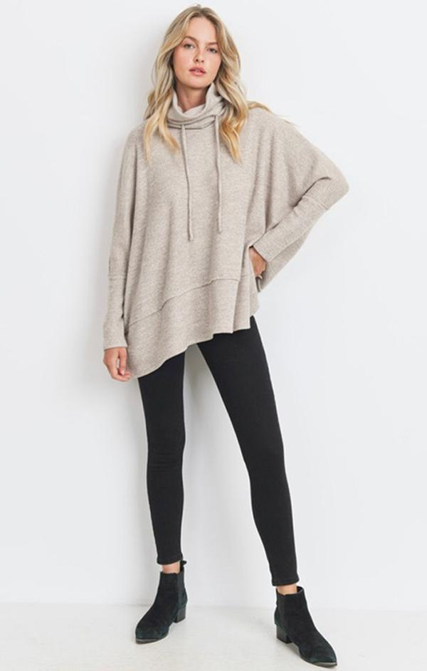 drawstring neck pullover knit sweater top