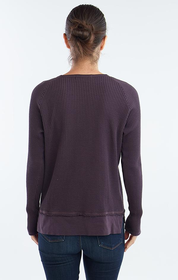 split purple scoop neck top