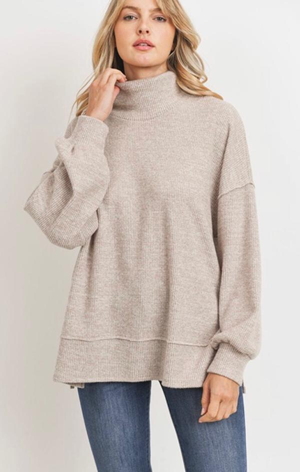 comfy turtle neck pullover knit top