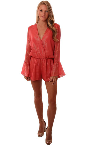 Amanda Uprichard Rompers V Neck Long Bell Sleeve Coral Jumper