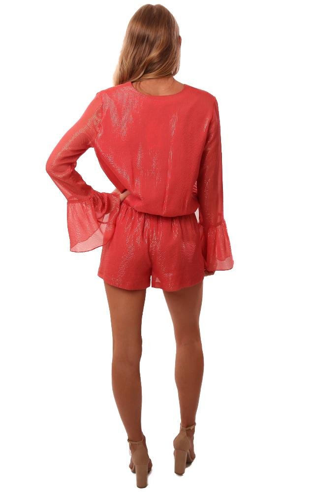 Amanda Uprichard Rompers V Neck Long Bell Sleeve Coral Metallic Romper