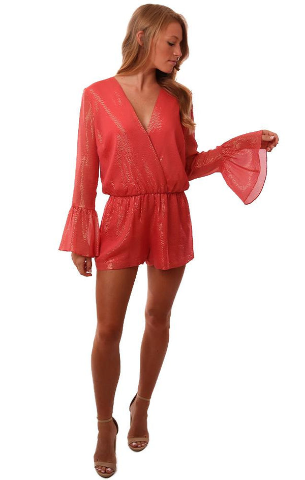 Amanda Uprichard Rompers V Neck Long Bell Sleeve Coral Gold Metallic Romper
