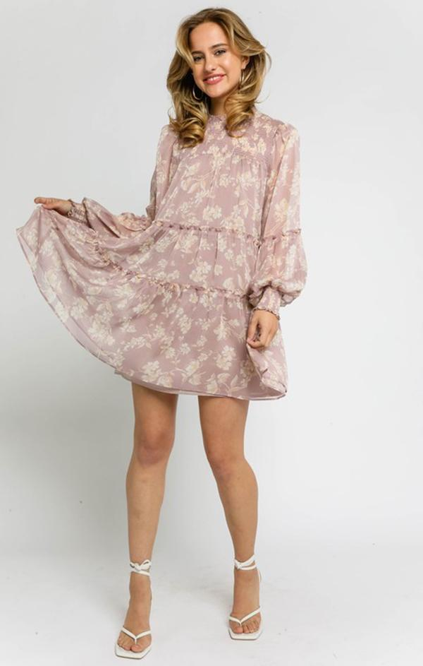 long sleeve floral mini dress for spring