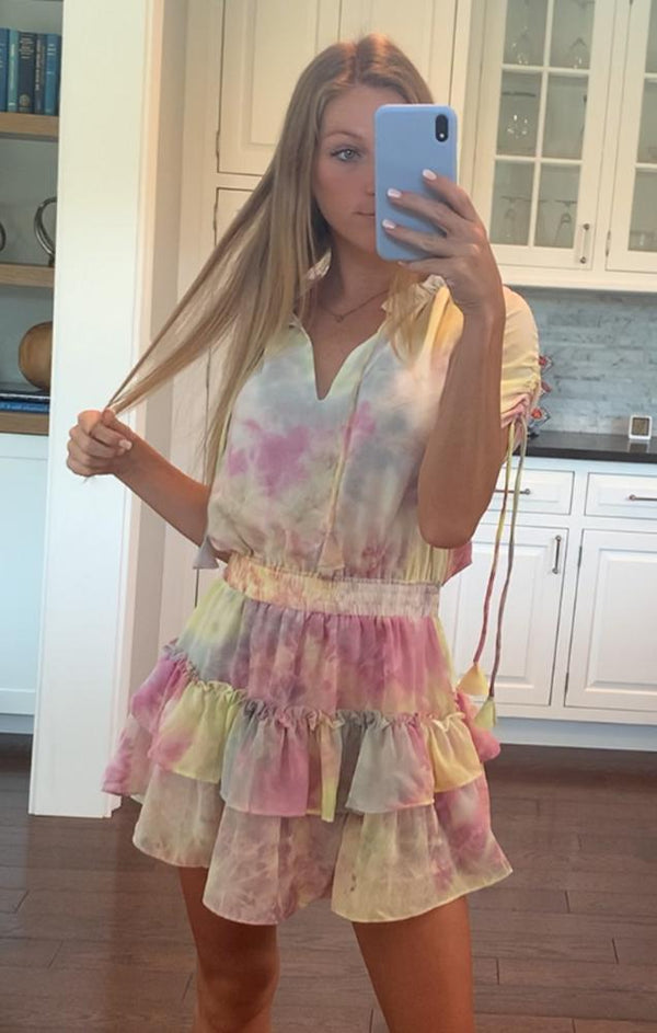 pastel rainbow mini party dress