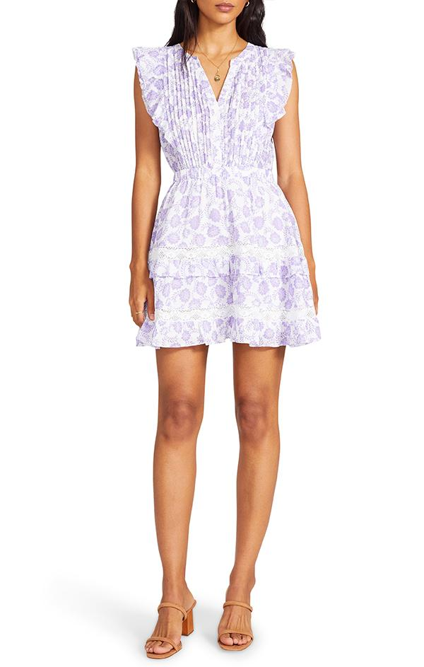 love shack fancy purple and white mini dress