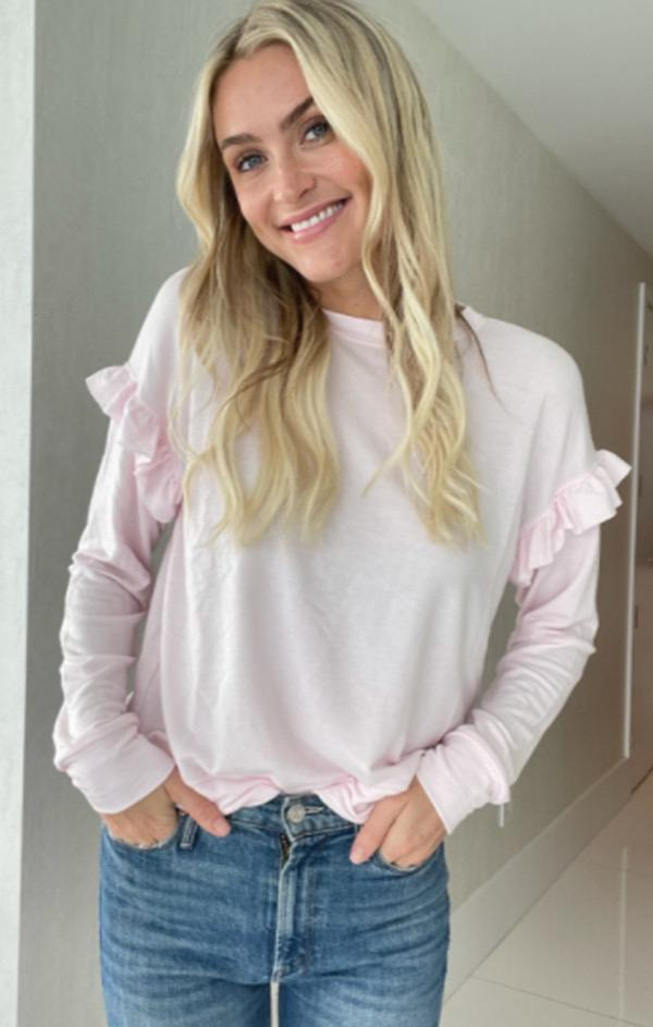 pink six fifty ruffle sweatshirt