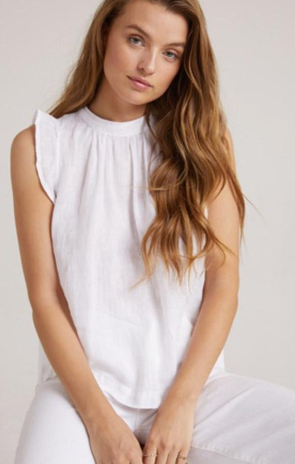 ruffle sleeve mock neck white flowy blouse by Bella dahl