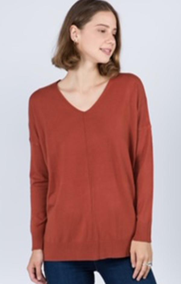 long sleeve basic v neck in rust