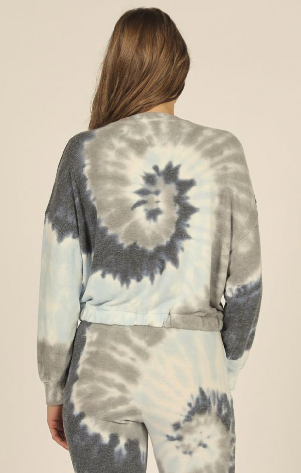 spiral blue teal grey tie dye top
