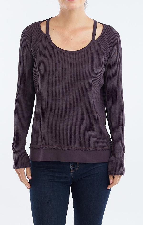 split neck purple knit sweater