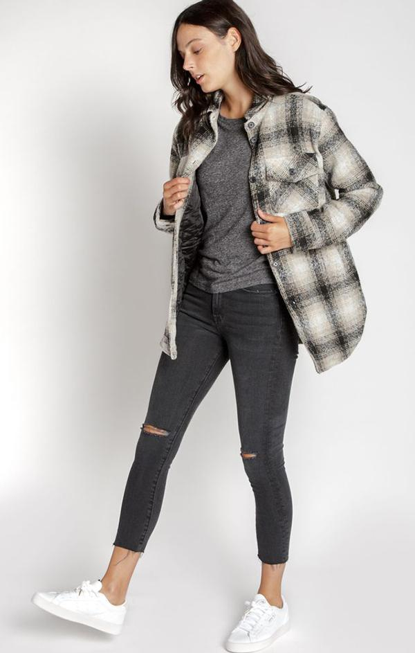 button up classic plaid jacket