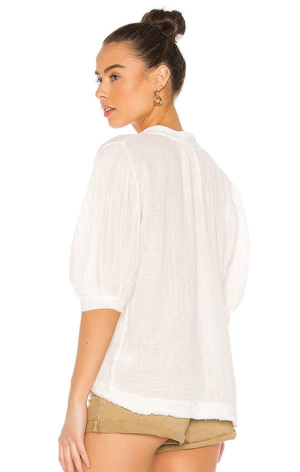 puff sleeve white gauze top