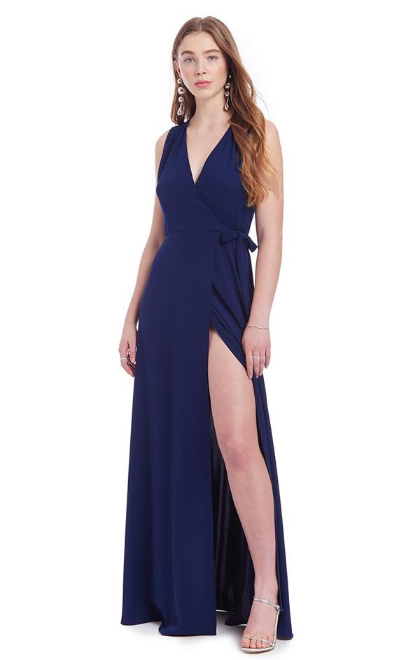 sleeveless navy slit wrap dress