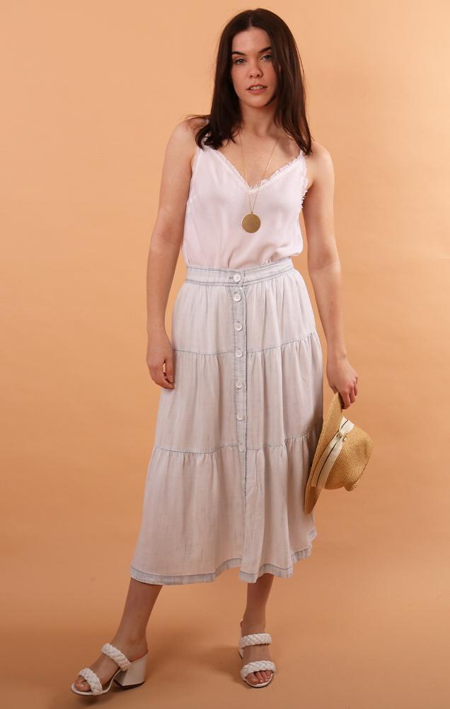 Bella Dahl flowy button front tencel maxi skirt