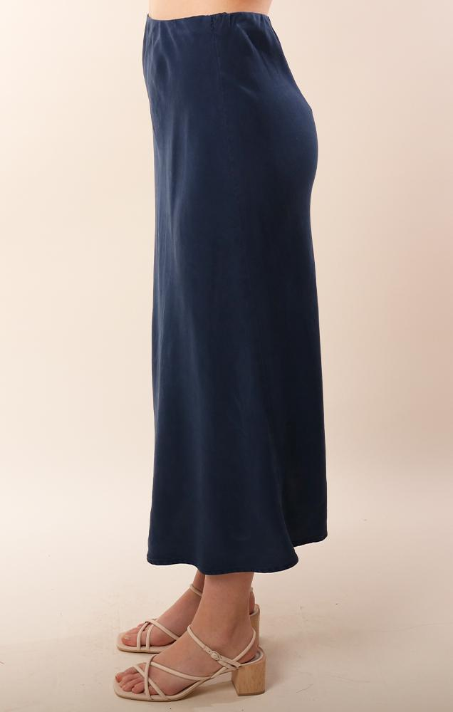 Bella Dahl Tencel Navy Flowy Midi Spring Summer Skirt