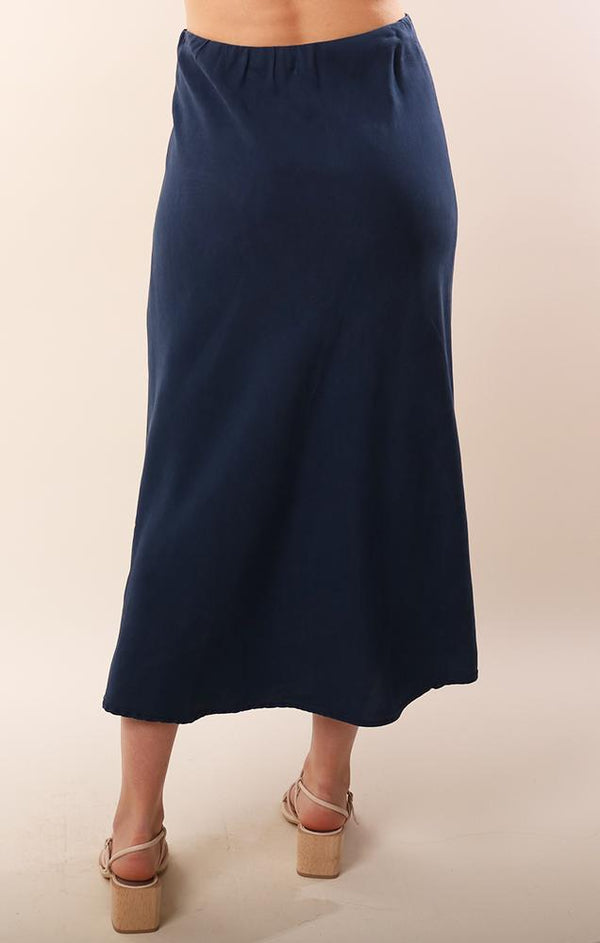 Bella Dahl Tencel Navy Flowy Midi Bias Cut Spring Skirt