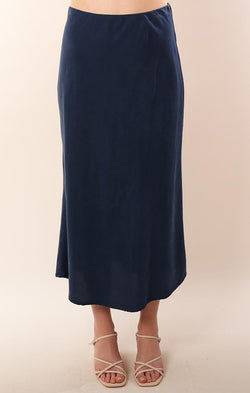 Bella Dahl Tencel Navy Flowy Midi Bias Cut Skirt