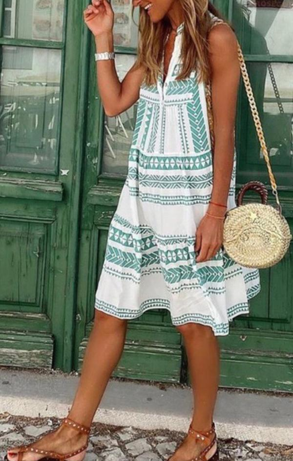 Bali Dress teal white aztec