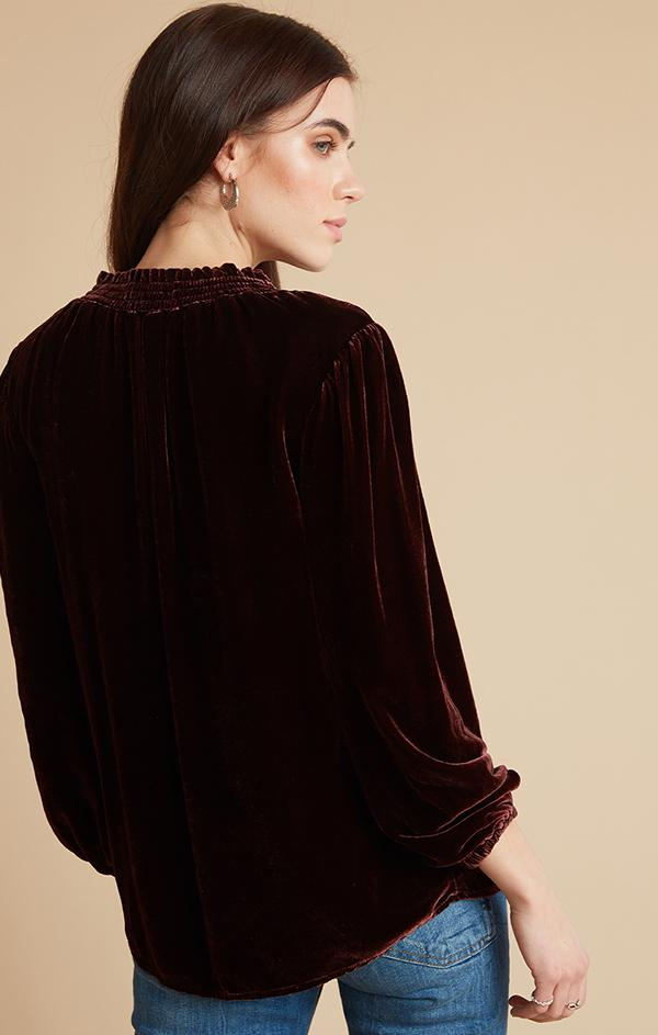 velvet v neck long sleeve blouse