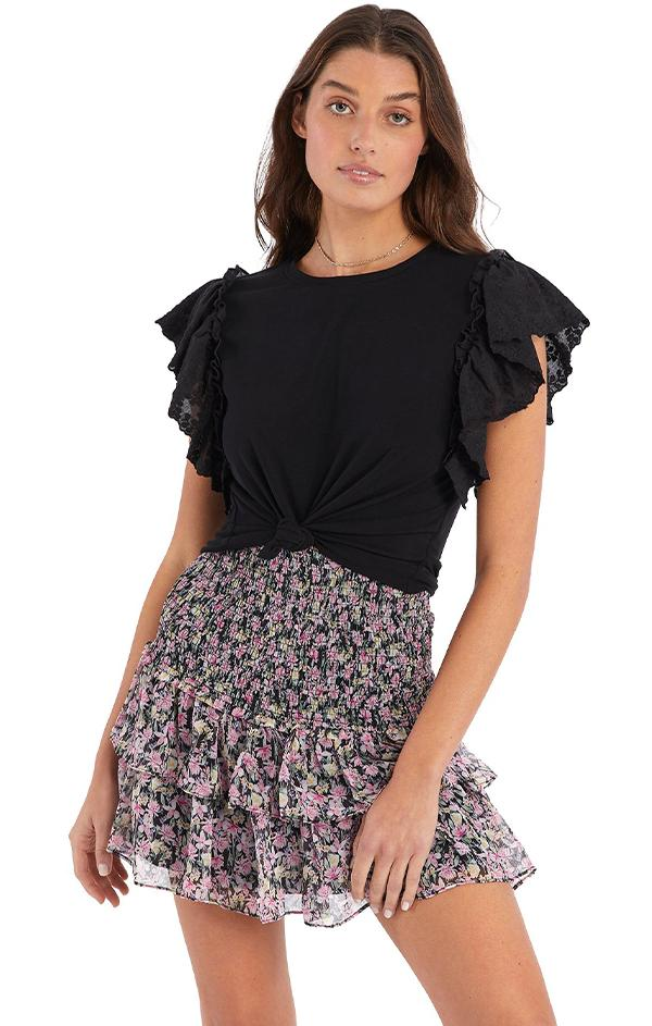 love shack fancy Floral Smocked Mini Skirt black floral