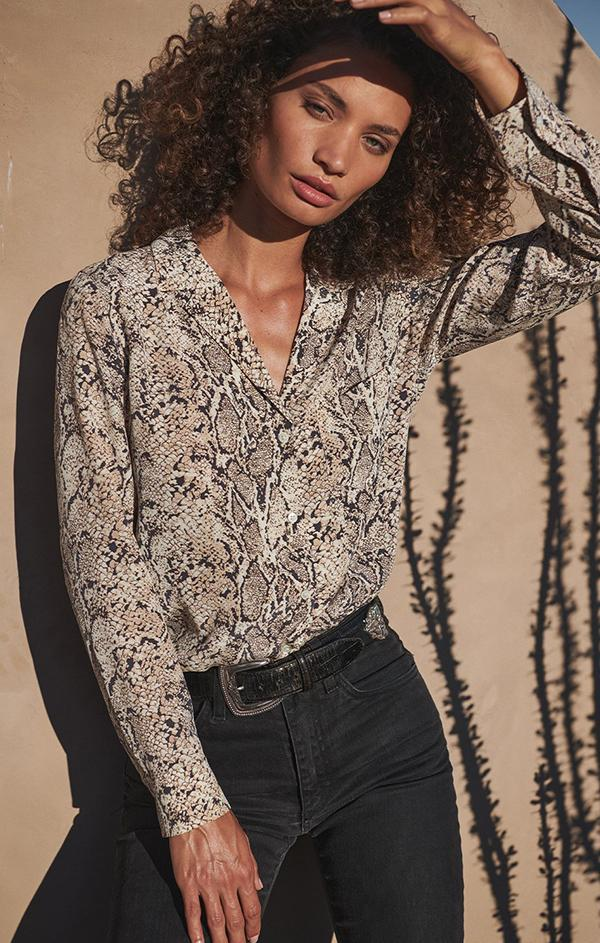 snakeskin silk long sleeve button up blouse