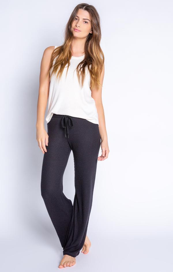 drawstring waist wide leg ribbed black pant