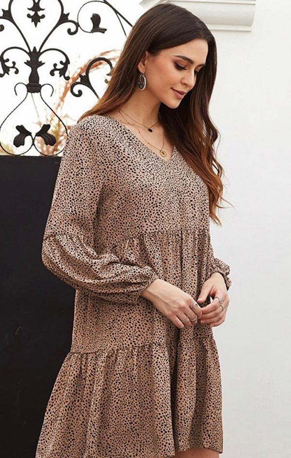 long sleeve spotted tiered mini dress