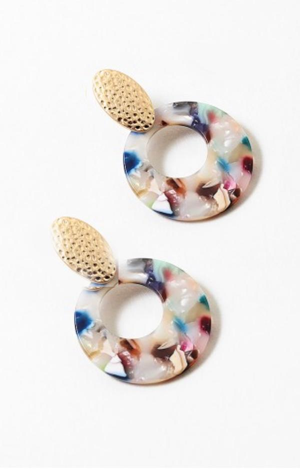 rainbow marble acrylic hoop earrings