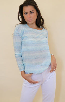 metric Kayla sweater womens blue striped pullover knit top for spring