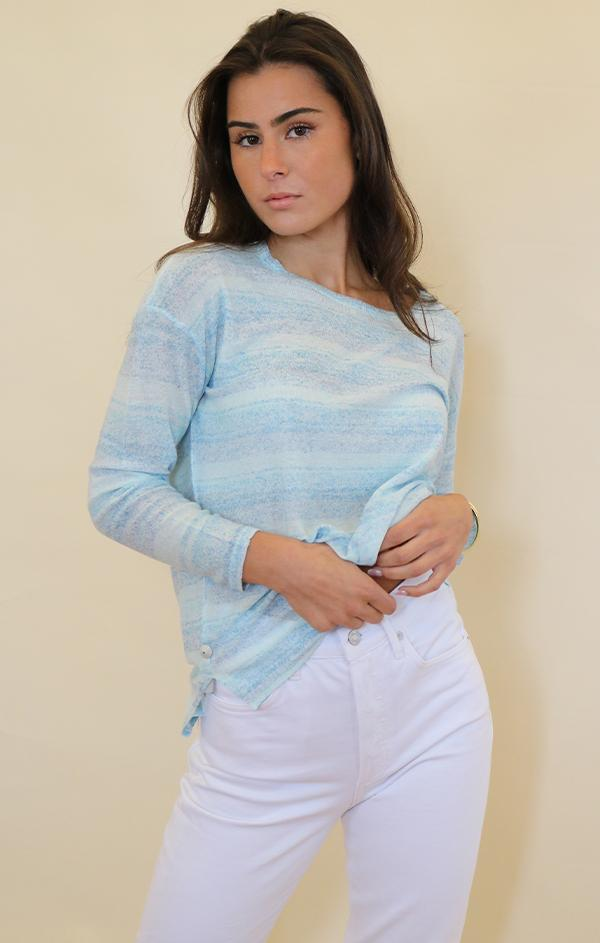 light blue striped womens summer top