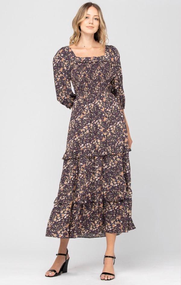 square neck midi Dress in floral