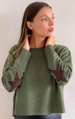 olive green crop knit sweater