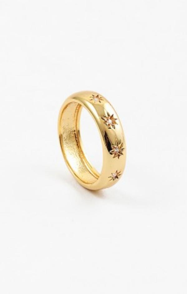 gold summer trendy womens star burst ring