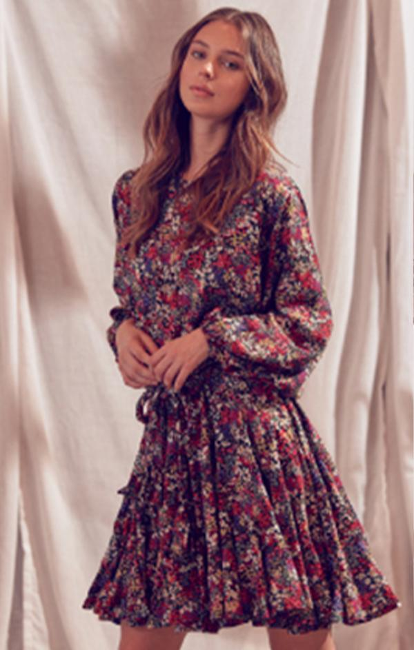 fall floral mini dress with tie waist and long sleeves