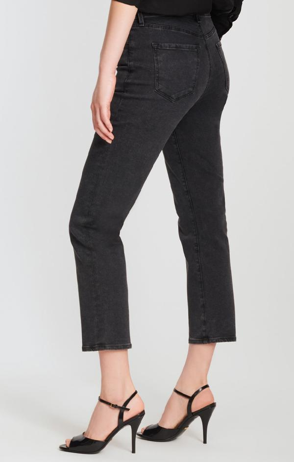 crop straight leg black denim jeans