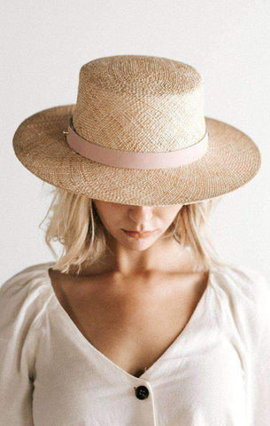 boater style woven straw hat by gigi pip
