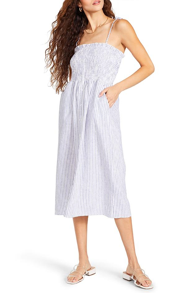summer women's smock stripe midi dress