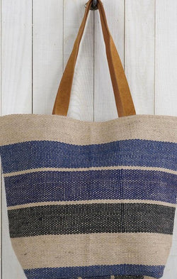 navy striped woven straw tote beach bag